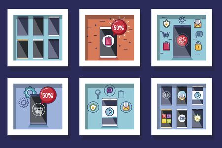 bundle designs of social media marketing and icons vector illustration design