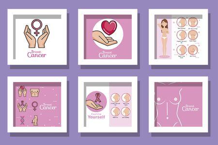bundle of breast cancer awareness designs vector illustration design 向量圖像