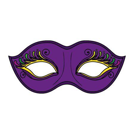Mardi gras mask design, festa carnevale decorazione celebrazione festival vacanza divertimento new orleans e tema tradizionale illustrazione vettoriale Vettoriali