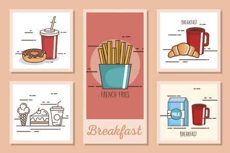 ensemble de conceptions de délicieux petits déjeuners conception d'illustration vectorielle