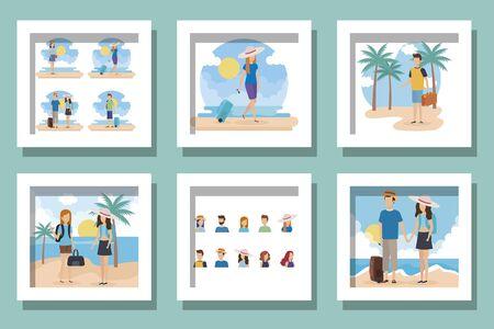 bundle of tourism people avatar character vector illustration design