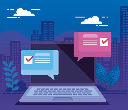 laptop computer for vote online line with speech bubbles vector illustration design Vecteurs
