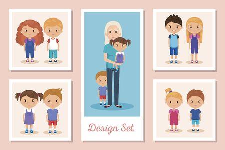 designs set scenes of grandparents with grandchildren vector illustration design