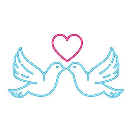 doves with heart in neon light on white background vector illustration design