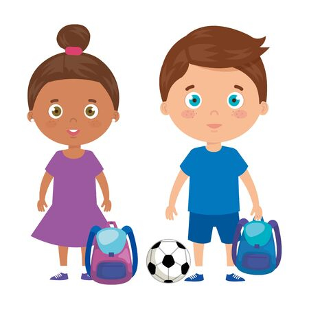 cute little children with school bag and toys vector illustration design 版權商用圖片 - 139165321