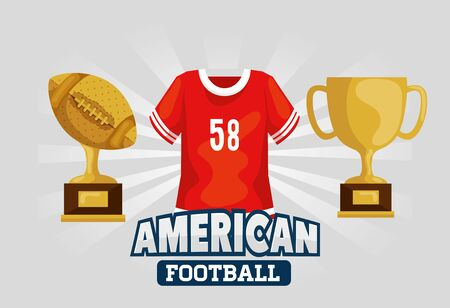 poster of american football with shirt and trophies vector illustration design 일러스트