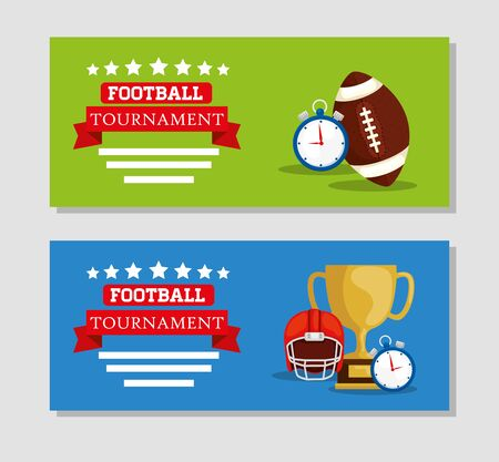 set poster of american football tournament with decoration vector illustration design