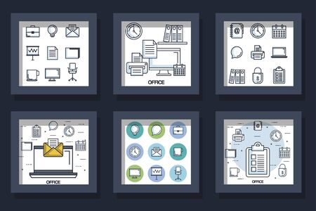 bundle designs of office equipments and icons vector illustration design