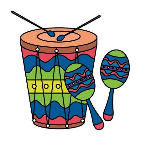 maracas with drum musical instruments vector illustration design
