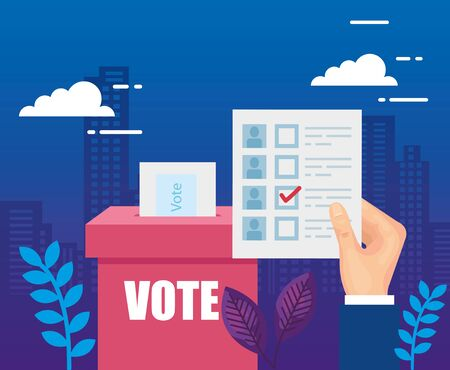 hand with vote form and ballot box vector illustration design Illustration