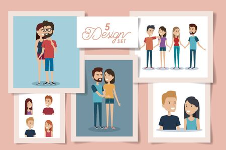five designs of young couple lovely vector illustration design