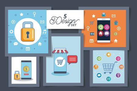 five designs of smartphone and social media icons vector illustration design