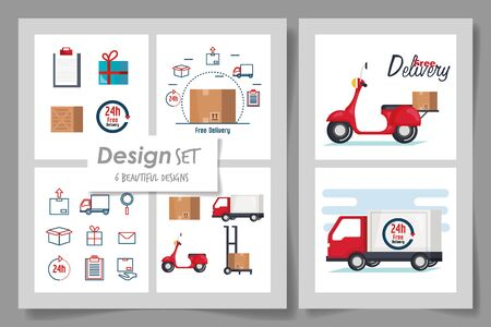 Six designs, Delivery logistics transportation shipping service warehouse industry and global theme Vector illustration