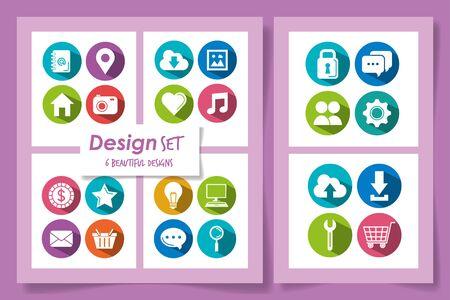 six designs of social media marketing icons vector illustration design