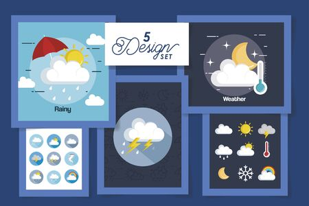 five designs of weather forecast vector illustration design