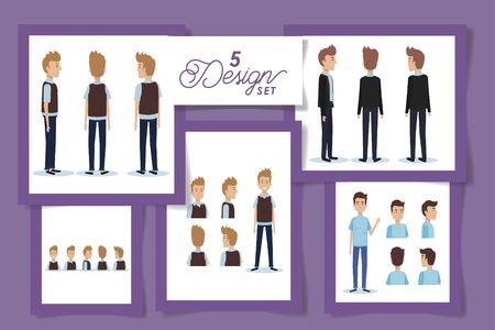 five design of elegant businessmen characters vector illustration design