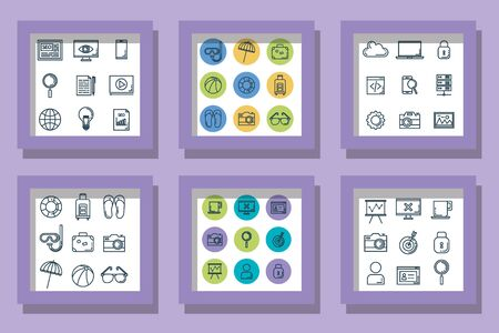 bundle icons of summer season with technology and business vector illustration design