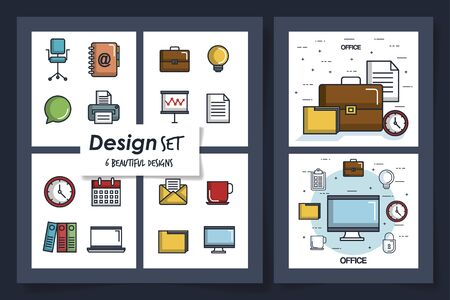six designs of office equipments with icons vector illustration design