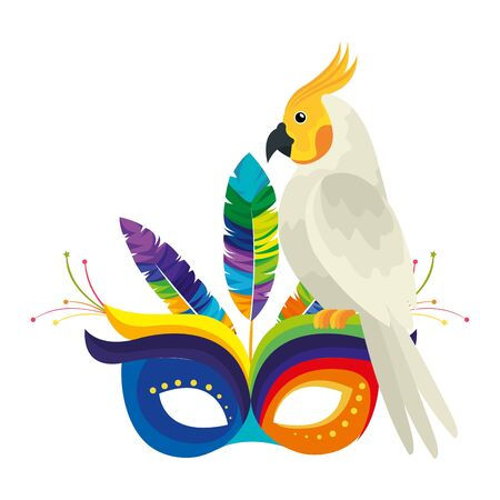 parrot with mask carnival isolated icon vector illustration design Illustration