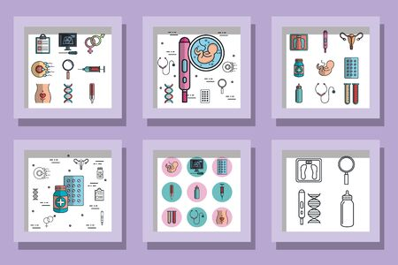 bundle designs pregnancy set icons vector illustration design
