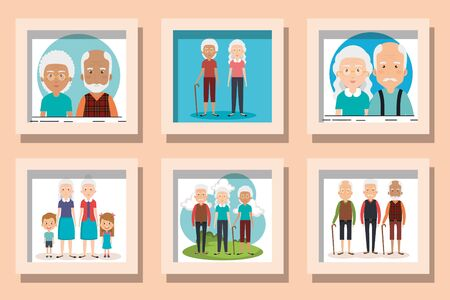 bundle designs of grandparents with grandchildren vector illustration design
