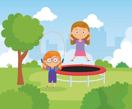 little girls with trampoline jump and rope jump in park landscape vector illustration design  イラスト・ベクター素材
