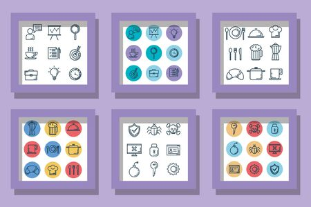 bundle icons of business with food and cybersecurity vector illustration design Illustration