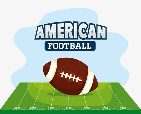 poster of american football with ball vector illustration design