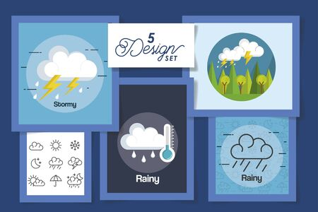 five designs of weather forecast vector illustration design  イラスト・ベクター素材