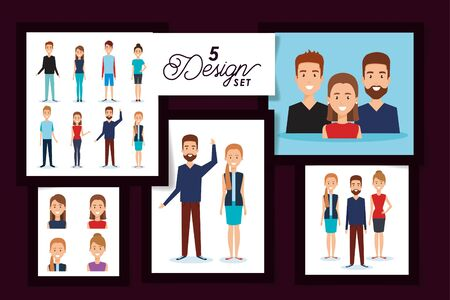 Women and men avatars set design, Person people human profile and user theme Vector illustration