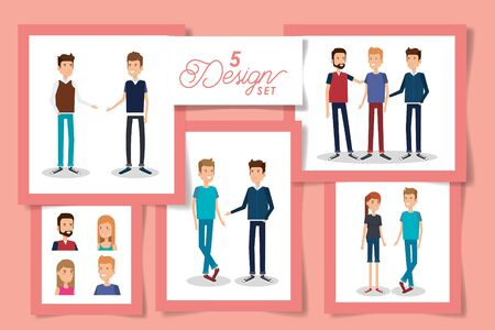 Five designs of women and men avatars, Person people human profile and user theme Vector illustration