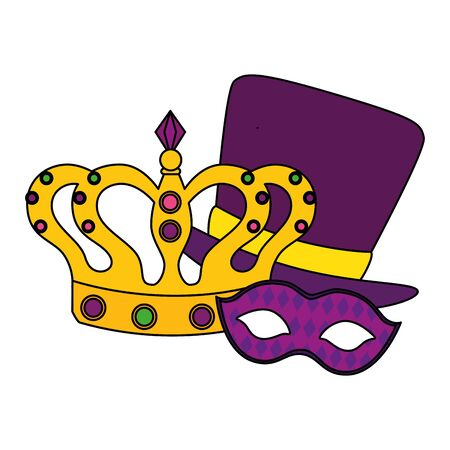 Mardi gras mask hat and crown design, Party carnival decoration celebration festival holiday fun new orleans and traditional theme Vector illustration  イラスト・ベクター素材