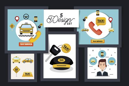 five designs of service taxi with icons vector illustration design Ilustração