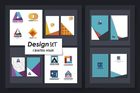 six designs of advertising template icons vector illustration design Banque d'images - 139184721