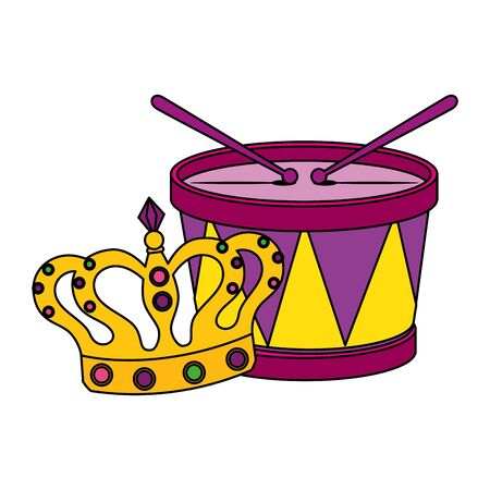 Mardi gras crown and drum design, Party carnival decoration celebration festival holiday fun new orleans and traditional theme Vector illustration  イラスト・ベクター素材