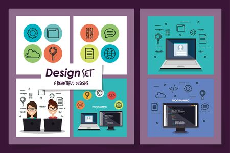 six designs set of programming computer with young people vector illustration design