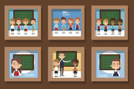 bundle designs of back to school with people vector illustration design 向量圖像