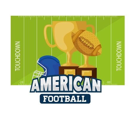 poster of american football with trophies and helmet vector illustration design 일러스트