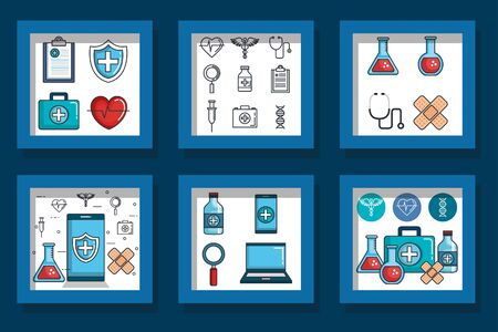 bundle designs of health and icons vector illustration design