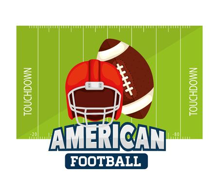 poster of american football with ball and helmet vector illustration design 일러스트