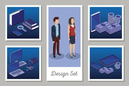 designs set of digital technology and business people vector illustration design