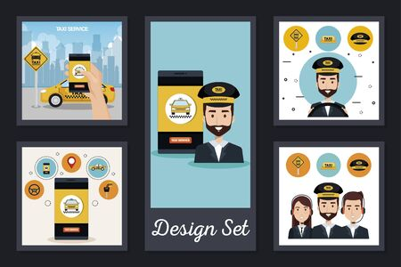 designs set of service taxi and icons vector illustration design Ilustração