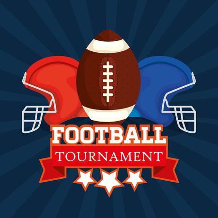 poster of american football tournament with ball and helmets vector illustration design