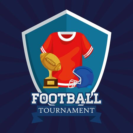 poster of american football tournament with shirt and icons vector illustration design