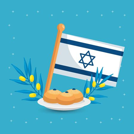 flag israel with olive branches and round breads vector illustration design Çizim