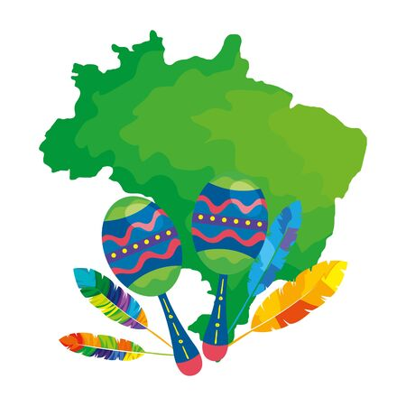 maracas with map of brazil isolated icon vector illustration design