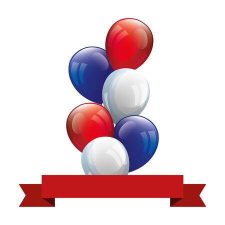 balloons helium with ribbon isolated icon vector illustration design