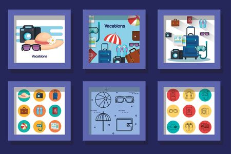 bundle designs of vacation set icons vector illustration design Illusztráció