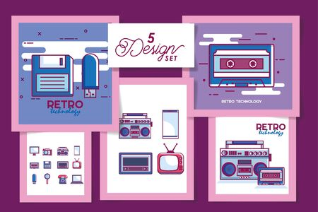 Five retro and digital technology designs, Communication social media internet web and device theme Vector illustration