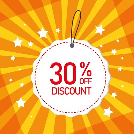 commercial label with thirty percent discount vector illustration design